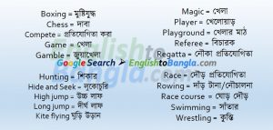Commonly used words Game and Sports
