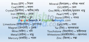 Commonly used words Metal and Mineral